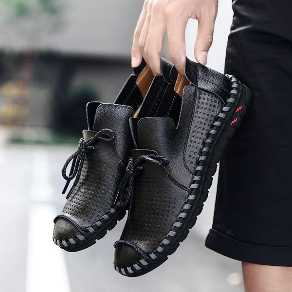 Shoes - Big Size Leather Breathable Holes Men Casual Shoes