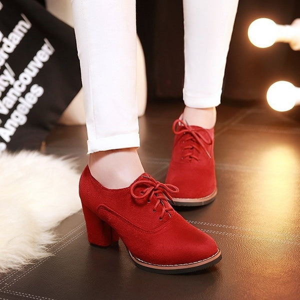 Shoes - Fashion Ladies Suede Leather High Heel Boots