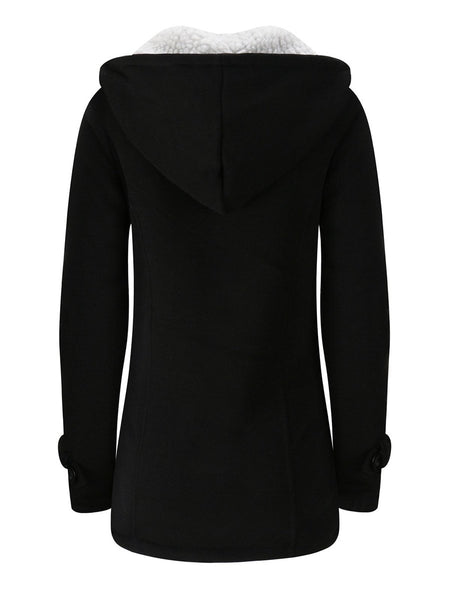 Clothing - Women's Button Cotton Fleece Hooded Coat