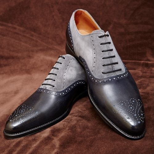 Men Handmade Dress Leather Brogue Two Tone Shoes