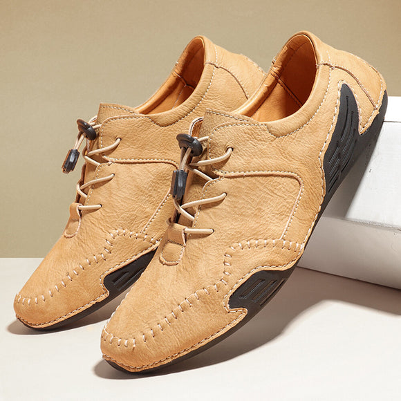 Kaaum Hand Stitching Comfort Lace Up Soft Driving Leather Shoes