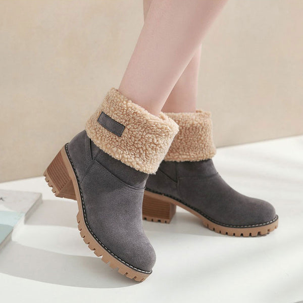 Women's Shoes - Thick Bottom Platform Waterproof Ankle Snow Boots