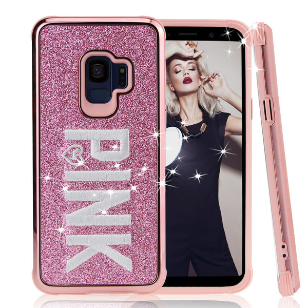 Phone Case - Luxury Fashion Hot Cute Glitter Embroidery Pink Phone Case For Samsung Note 9/8 S9 S8/Plus
