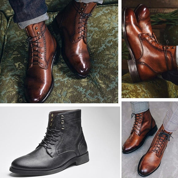 New arrival Men's Fashion Autumn Winter Leather Business Warm Ankle Boots
