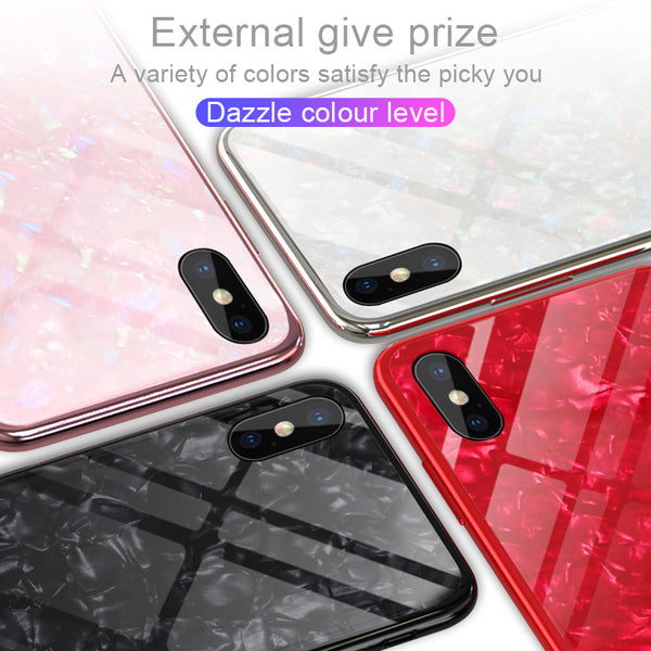 Phone Case - Luxury Soft TPU Bumper Cover Tempered Glass Case For iPhone X 8/7 Plus