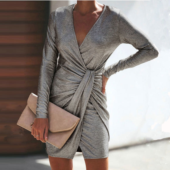 V-Neck Long Sleeves Gray Office Work Dress