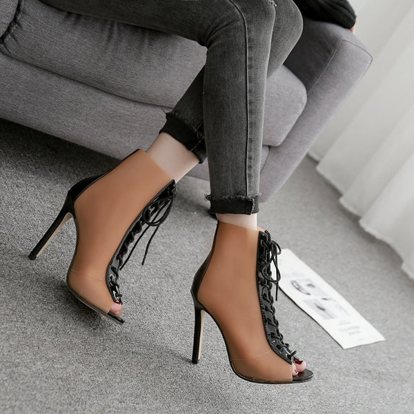Women Shoes - Transparency film fish mouth high-heeled shoes