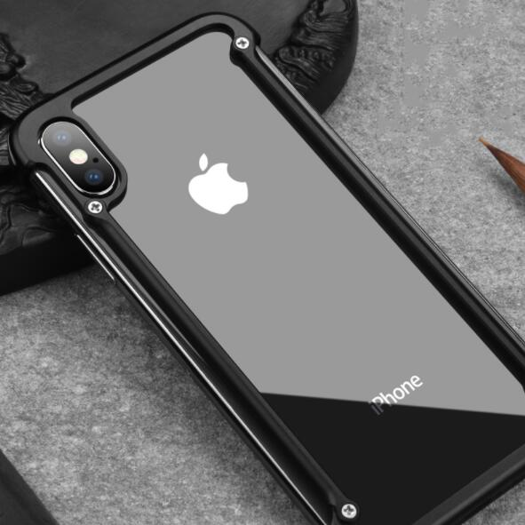 buy online 1a344 cfc1f Airbag Metal Bumper Case With Free Glass For iphone 7 8 Plus X XS MAX XR