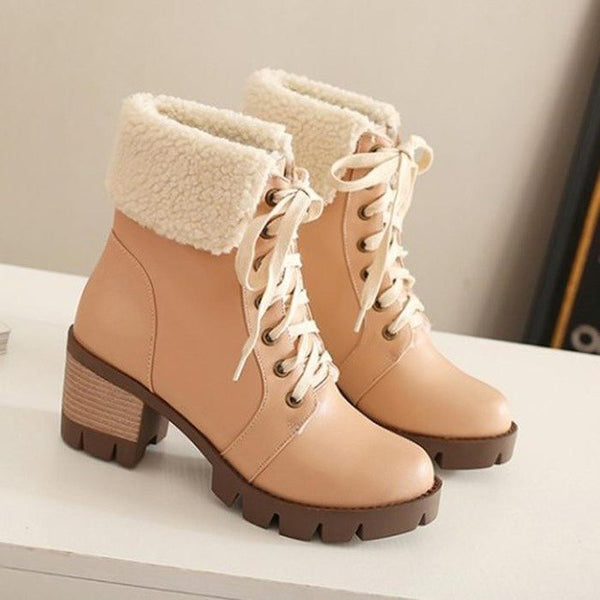 Women s Shoes - Winter Cotton Lined Lace-up Leather Snow Boots – Kaaum ce6270ccb9