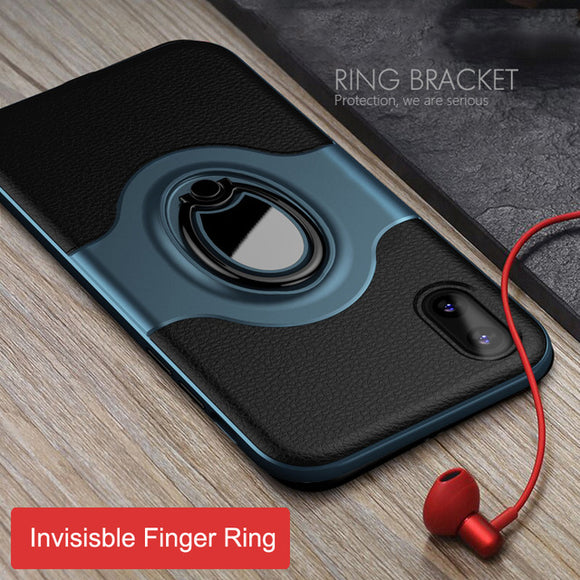 Car Magnetic Finger Ring Armor Anti-knock Cover for iPhone X XS Max XR 8 8plus
