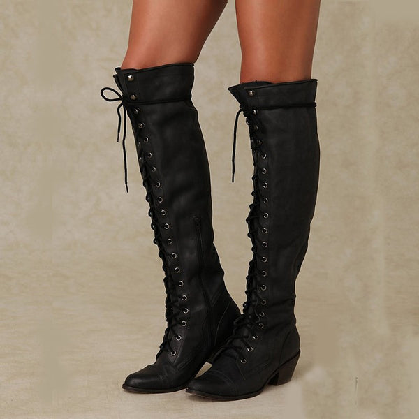 Autumn Winter Rivet High Heel Long Boots