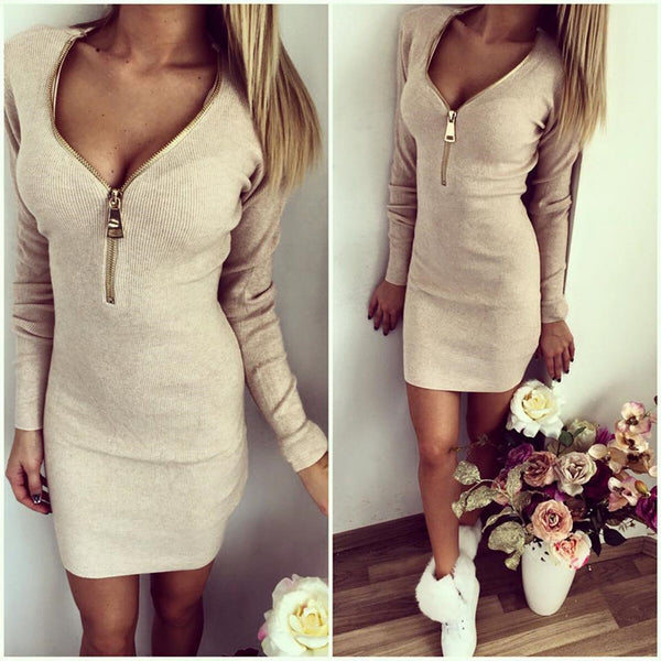 Fashion Zipper Mini Solid Female Dress