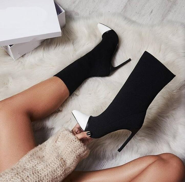 2019 New Sexy Stretch Fabric Pointed Toe Ankle Boots