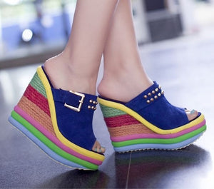 Sandals - Fashion Bohemia Rainbow Platform Wedges Sandals