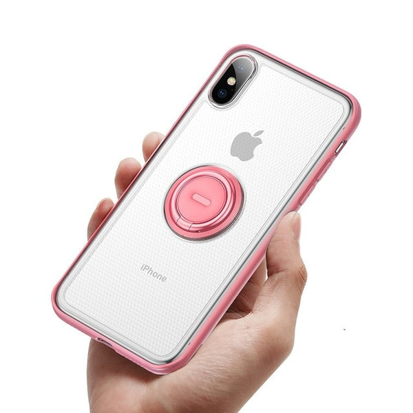 Phone Case - Ring Holder Stand Matte Case For iPhone