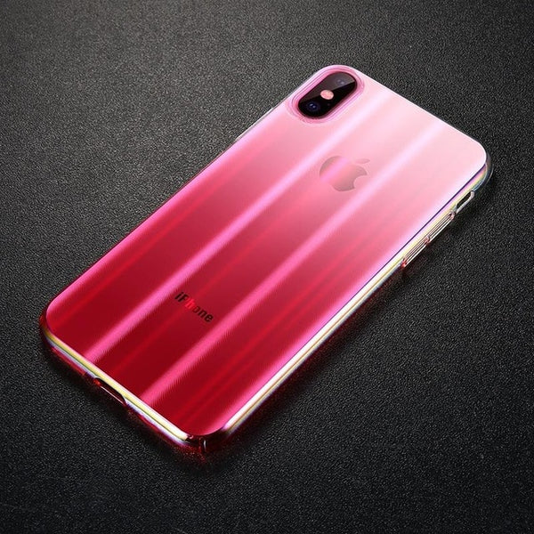 Phone Case - Ultra-thin CD Pattern Gradient Translucent Hard PC Aurora Phone Case for iPhone XS XR XS Max