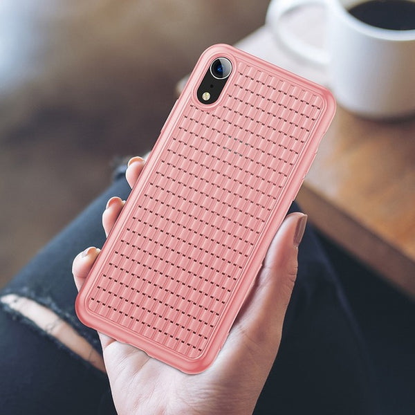 Phone Case - Luxury Elegant Weaving Grid Pattern Soft Silicone Phone Case For iPhone XS/XR/XS Max 8/7 Plus