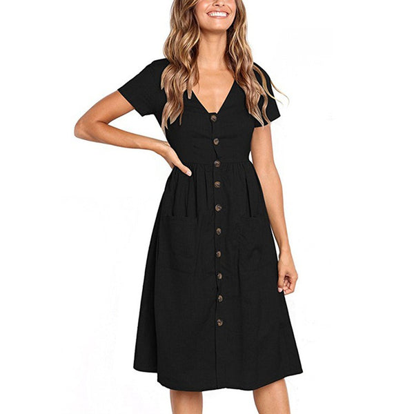 Women's Clothing - Button Decorative Swing Midi Dress with Pockets