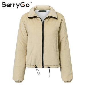 Women's Clothing - Casual Corduroy Thick Parka Overcoat