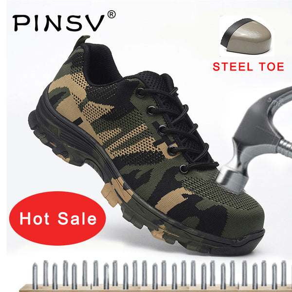 Men Shoes Men Camouflage Puncture Proof Work Safety Army Boots Kaaum