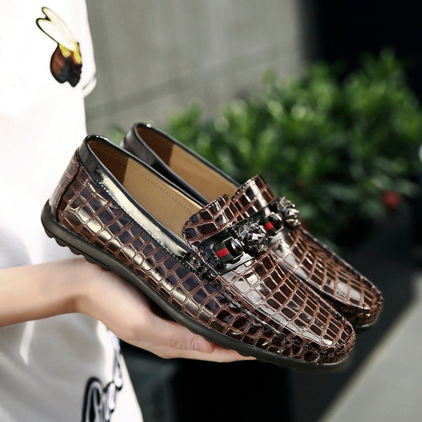 Luxury Men Crocodile Genuine Leather Casual Shoes