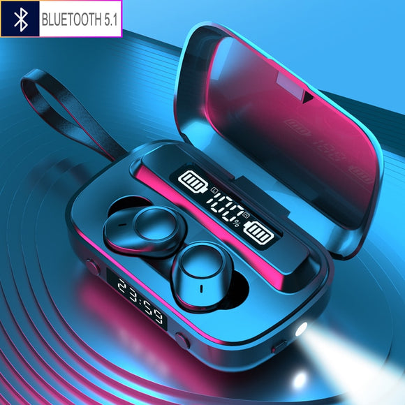 Bluetooth 5.1 Earphones with 2000mAh Charging Case