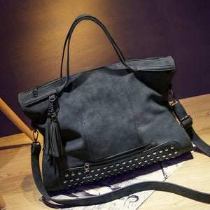 Bag - Vintage Rivet PU Leather Tassel Messenger Bag