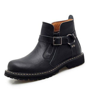 Autumn Winter Men Genuine Cow Leather Ankle Boots