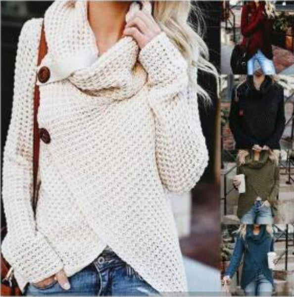 Women's Clothing - 2019 Comfortable Spring Knitted Long Sleeve Casual Pullover Irregular Sweater