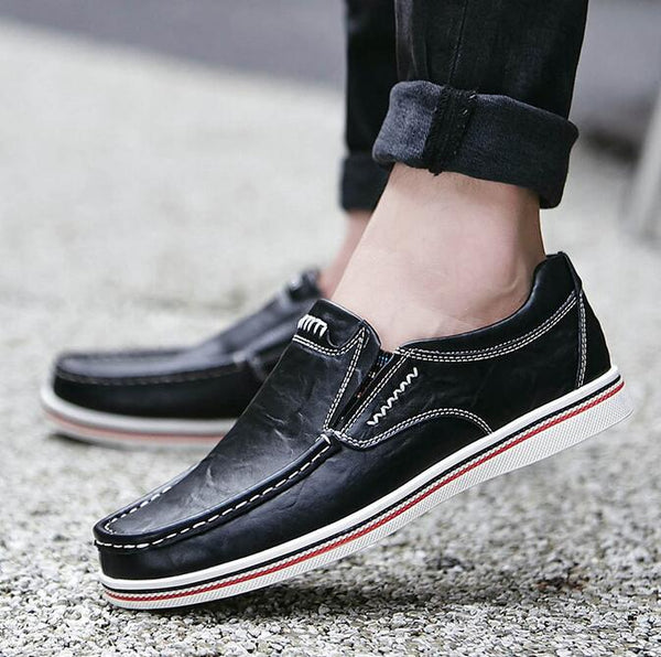 Men's Shoes - 2019 Men Large Size Cow Leather Wear-resistant Slip On Casual Shoes