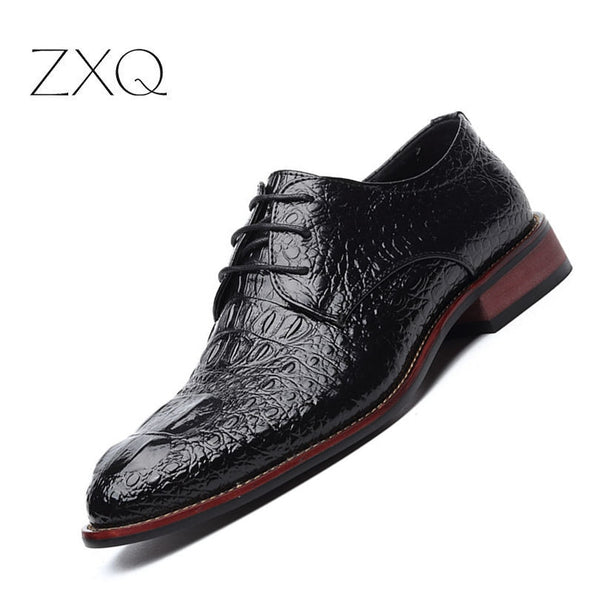 Hottest Gunuine Leather Crocodile Lace Up Dress Shoes