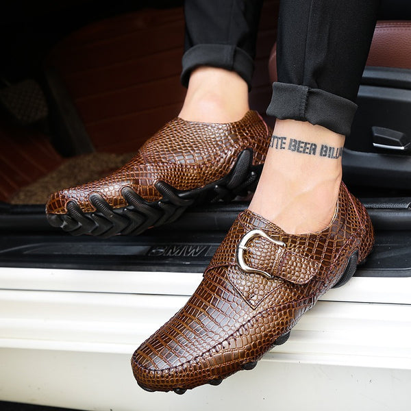 Shoes - Loafers Casual Genuine Leather Driving Crocodile Texture Men's Flats Shoes