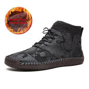 Men Hand Stitching Leather Non Slip Elastic Panels Soft Sole Casual Ankle Boots