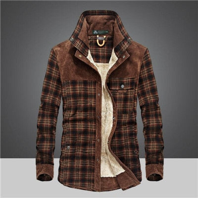 Men's Clothing - Military Men Casual 100% Cotton Winter Wool Thick Warm Plaid Fleece Shirts
