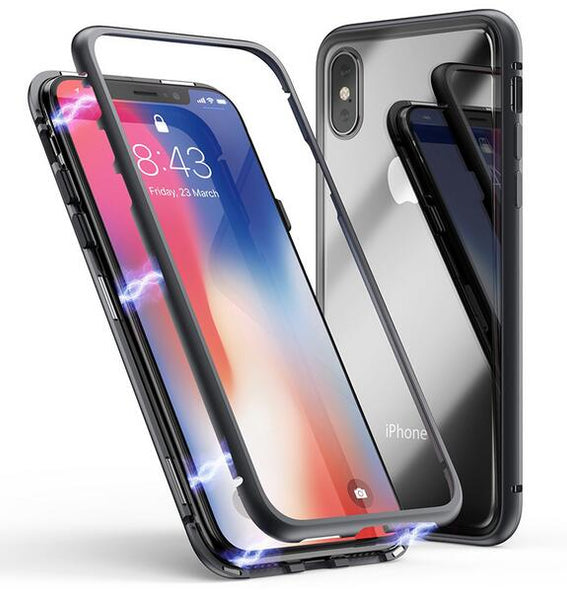 Phone Case - Luxury Magnet Absorption Aluminum Metal Frame Magneto Phone Case For iPhone X 8/7/6S Plus