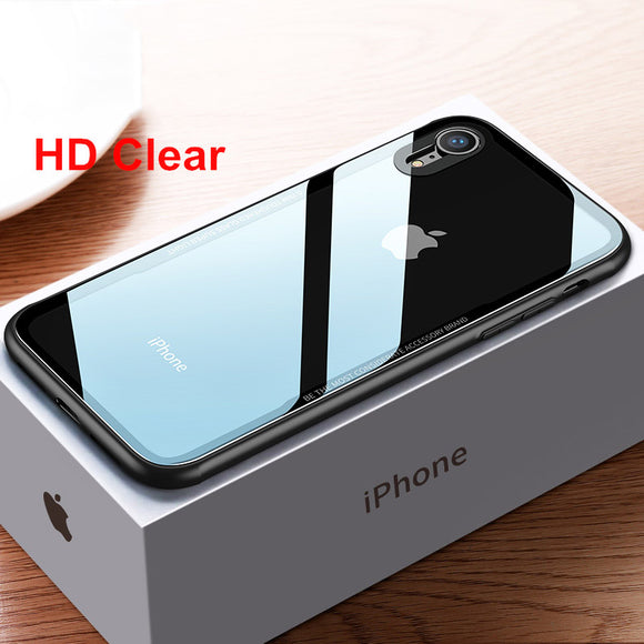 Phone Case - Luxury HD Clear Tempered Glass Soft TPU Edge Phone Case For iPhone X/XS/XR/XS Max 8/7 Plus