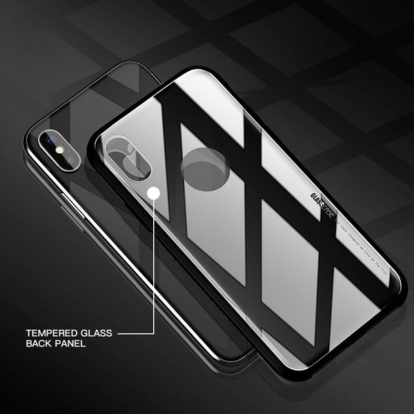 Phone Accessories - Luxury Tempered Glass Phone Back Case for iPhone X