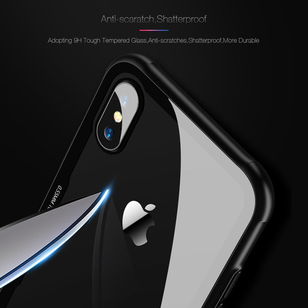 Phone Case - 0.7MM Tempered Glass Phone Case for iPhone X XS Max XR