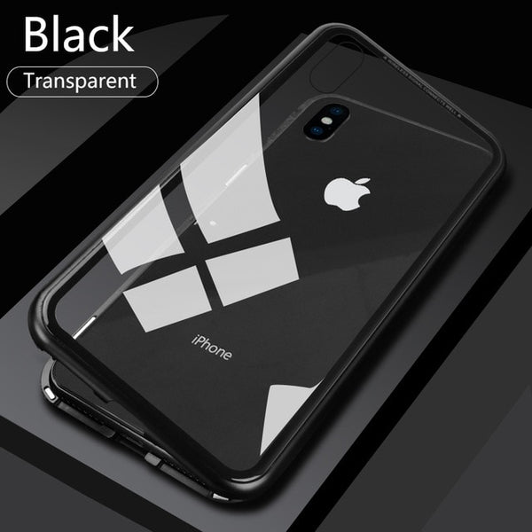 Phone Case - Luxury Built-in Magnet Adsorption Tempered Glass Back Full Protection Phone Case For iPhone XS/XR/XS Max 8/7 Plus