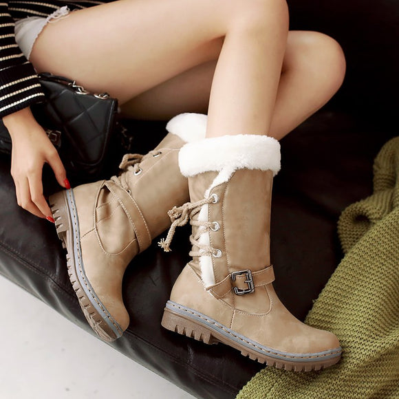 Women Fashion Cotton Winter Mid-calf Fur Leather Lace Up Snow Boots