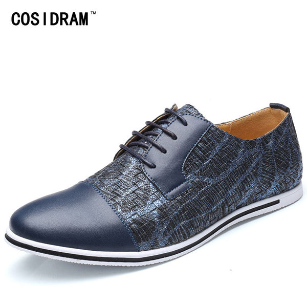Plus Size Fashion Men Patchwork PU Leather Casual Shoes