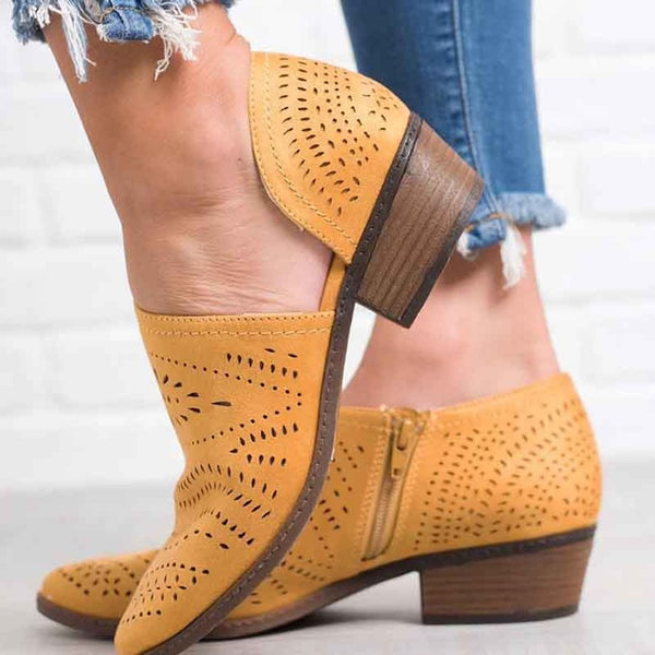 Shoes - Ladies Hollow Out Low Heel Cutout Side Zipper Ankle Boots