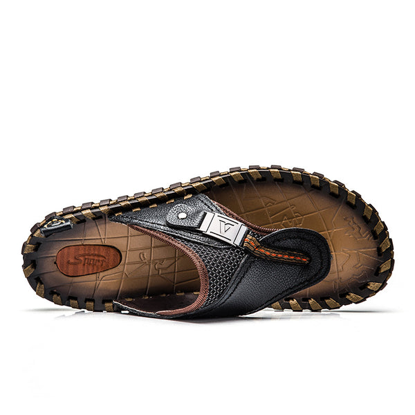 Shoes - 2019 Summer Plus Size Hand-made Genuine Leather Men Slippers Beach Shoes