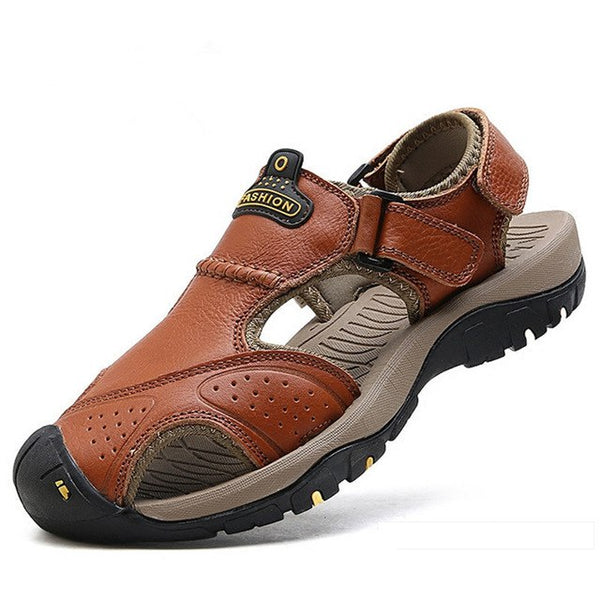 2018 Large Size Men Stitching Genuine Leather Anti-collision Toe Lace Up Outdoor Beach Sandals