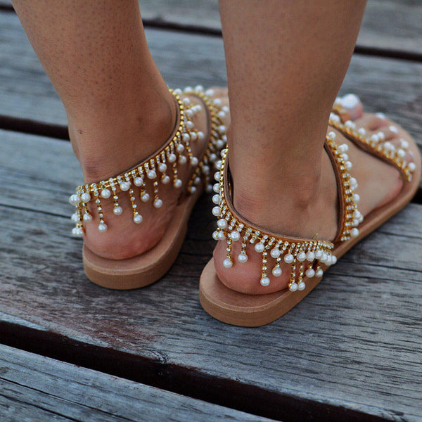 Shoes - 2018 Fashion Summer Pearl Leather Handmade Chic Sandals