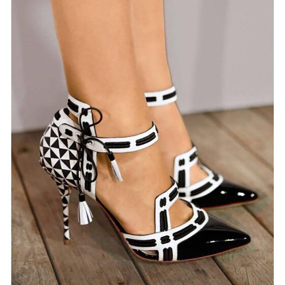 Shoes - 2018 Summer New Women High Heel Casual Print Geometric Platform Sandals