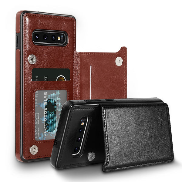 Card Slot Flip Phone Case For Samsung Note 10 Plus Note 8 Note 9 S7 S8 S9 S10 Plus Leather Case
