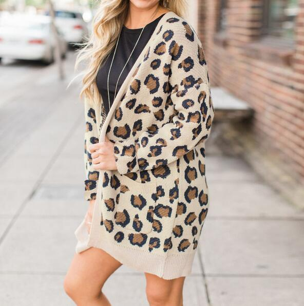 Women's Clothing - Collarless Flap Pocket Leopard Printed Outerwear