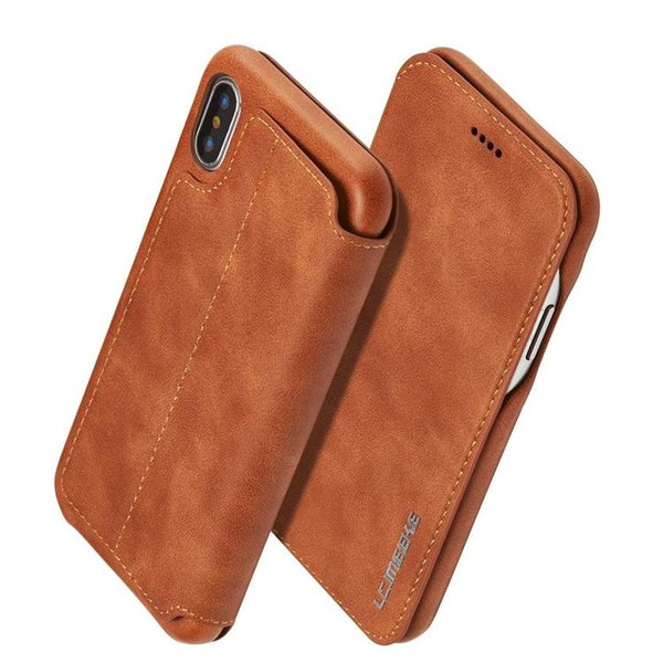 Flip Stand PU Leather Business Wallet Case For iPhone X XS 6 6S 7 8 Plus