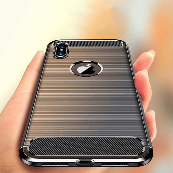 Phone Case - Luxury Carbon Fiber Soft Silicone Shockproof Phone Case For iPhone XS/XR/XS Max 8/7 Plus